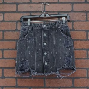 LF CARMAR Distressed Button Front Denim Mini Skirt